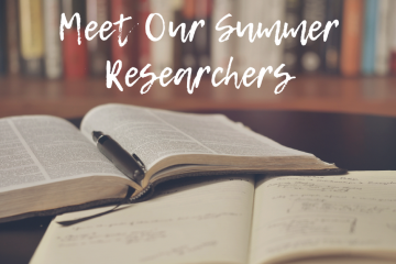 "A graphic with open books and a bookshelf, white text reads ""Meet our summer researchers"""