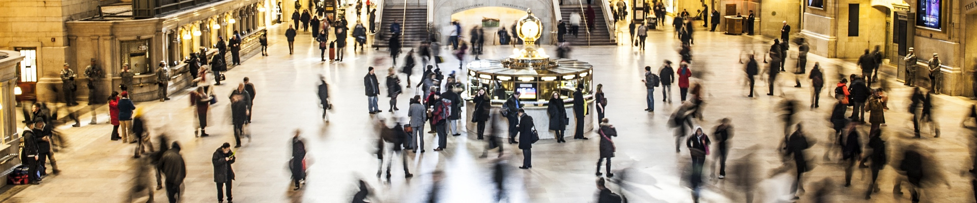 Grand Central Station in New York City with bustling movement of people